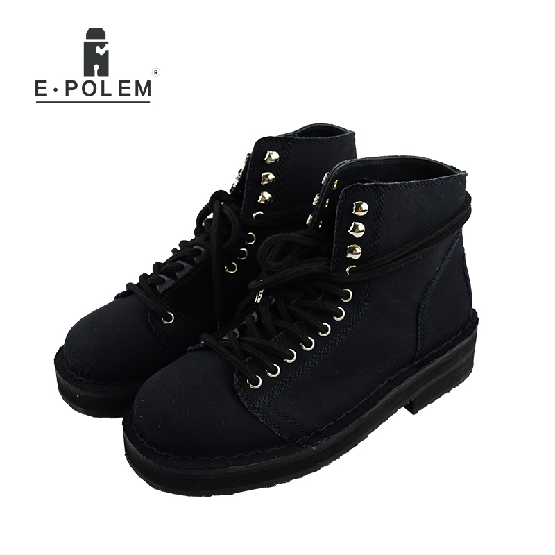 New Fashion Canvas Men Boots High Quality Lining Genuine Leather Handmade Thick Bottom Round Toe Lace Up Men Ankle Boots Shoes брюки mikiviki брюки