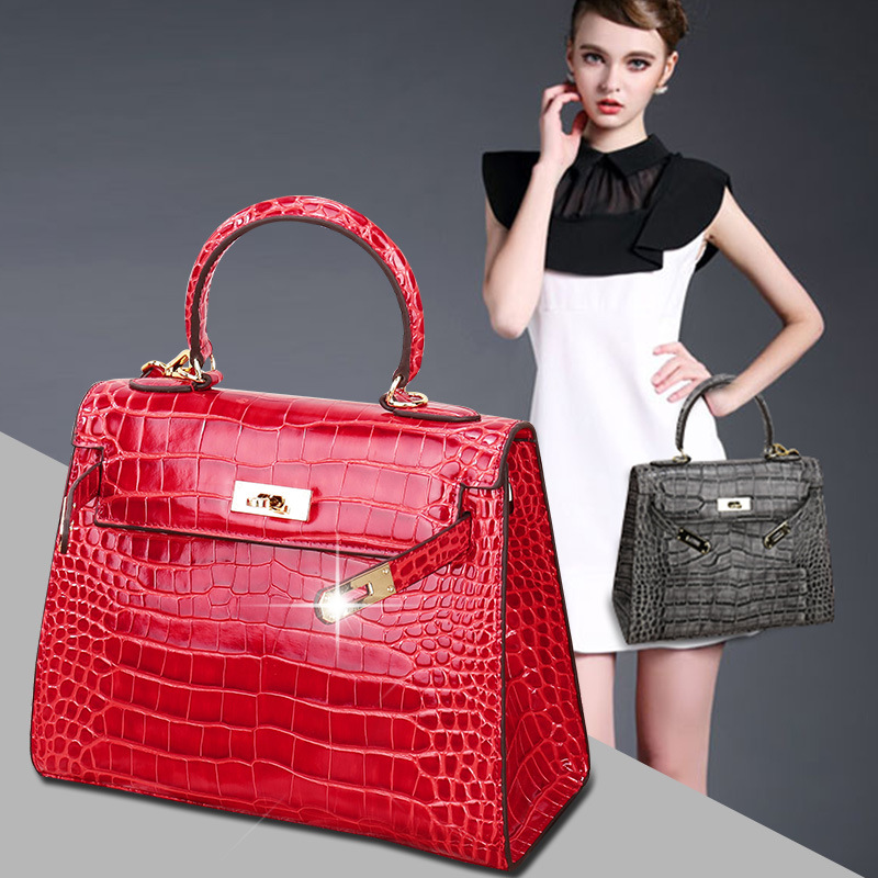 P126 New FashionEuropean and American Ladies Messenger Bag Crocodile Pattern Shoulder Bag Cowhide Leather Women handbag 2015 european and american brand women handbag shoulder bag crocodile pattern handbag handbag messenger bag rse wallet 6 sets