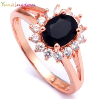 Yunkingdom NEW Fashion Engagement Rings For Women Wedding Ring Princess Noble Black CZ Diamond Jewelry H2508