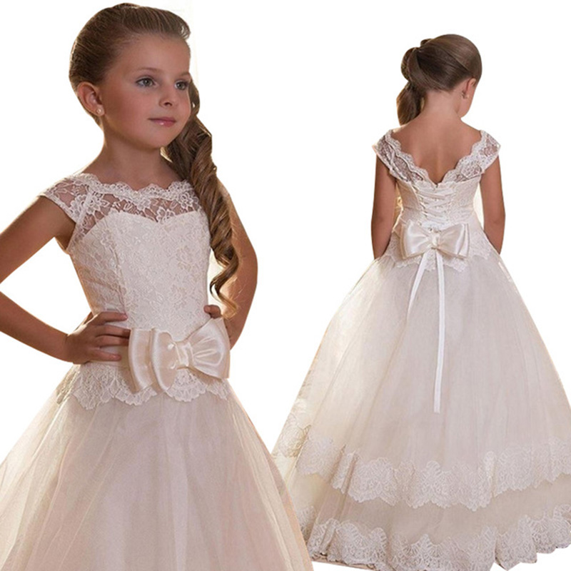 Retail Lace Hollow Heart Neck Princess   Girl   Gown Communion Long White   Dress   Elegant   Flower     Girls   Pink   Dress   With Bow LP-207