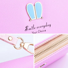 Solid PU Leather Rabbit Ear Wallet Purse
