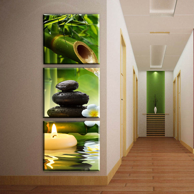 3 Paneles de bambú vela del arte de la lona pintura al óleo moderna ...
