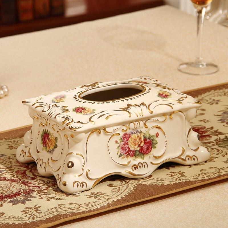 Европейские Роскошная гостиная, керамическая бумажные полотенца Box, сад Американский украшения дома, бумаги, блок дистанционного управлени