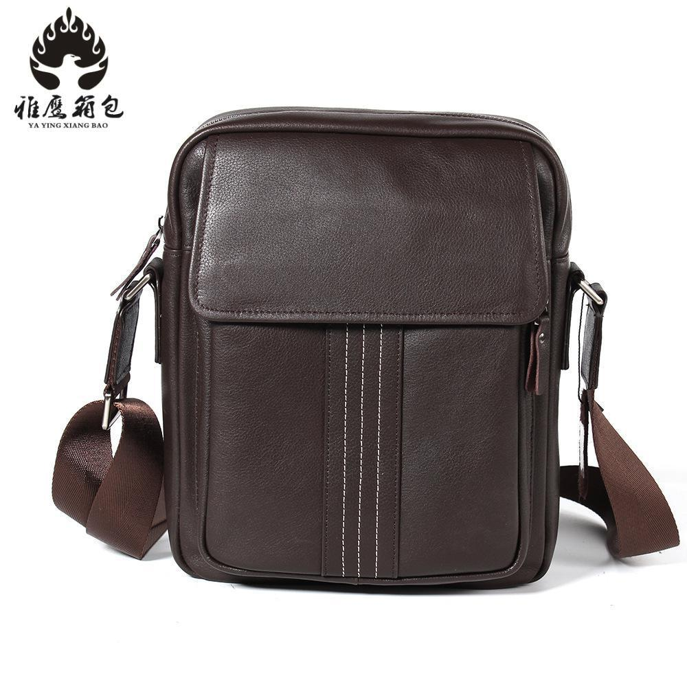 2018 New Genuine Leather Shoulder Bag Men Messenger Bags Zipper Design Men Commercial Briefcase Crossbody Bag edging design bleach wash zipper fly narrow feet slimming men s jeans