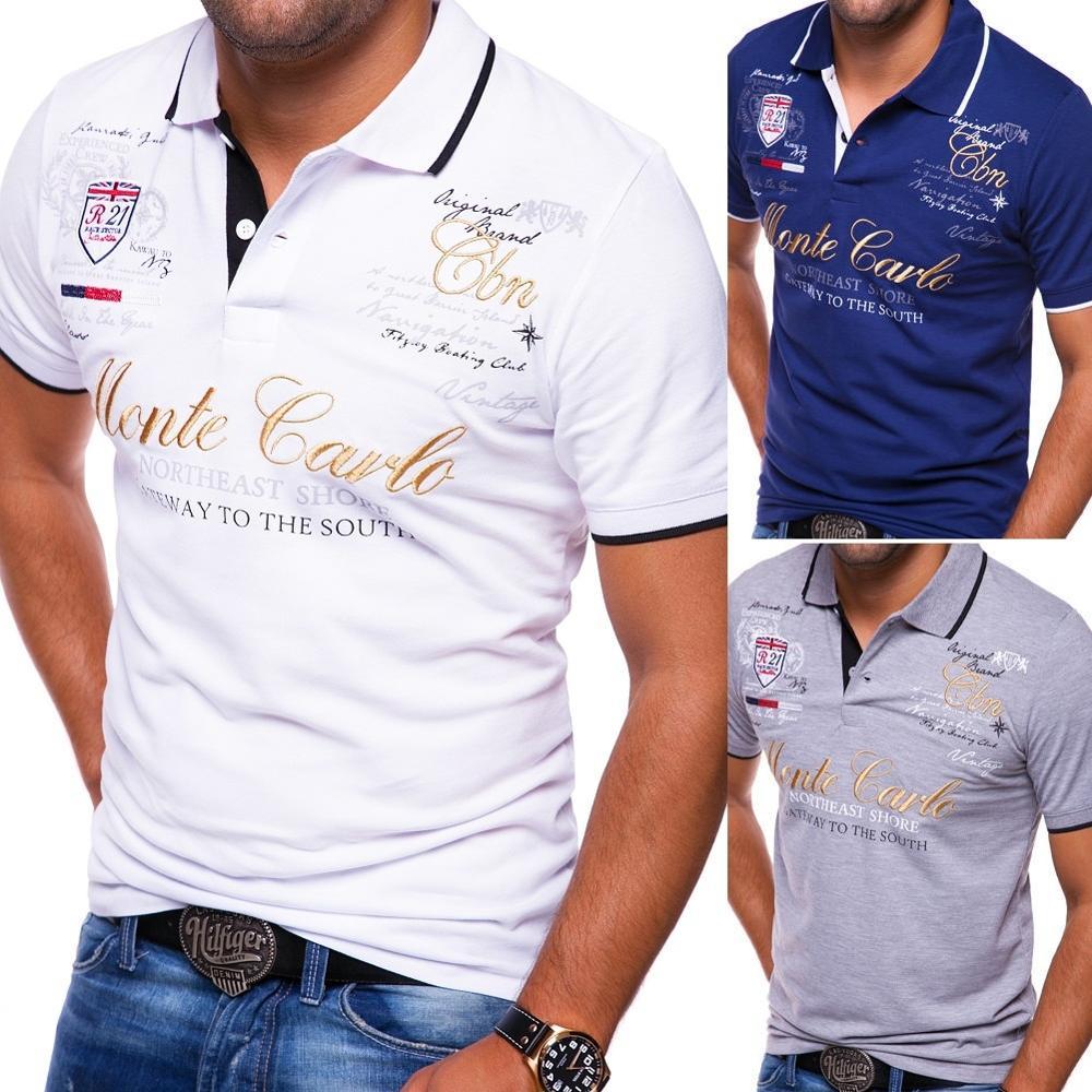 Zogaa Polo Shirt Hommes Nouveau 2019 Lettre Imprimer Polo Shirt En Coton D'été À Manches Courtes T-shirts Mode Masculine Quotidienne Polo Chemise offre spéciale