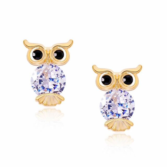 Flola Cute Korean Earrings For S Zirconia Animal Owl Kids Gold Clip No Hole Children