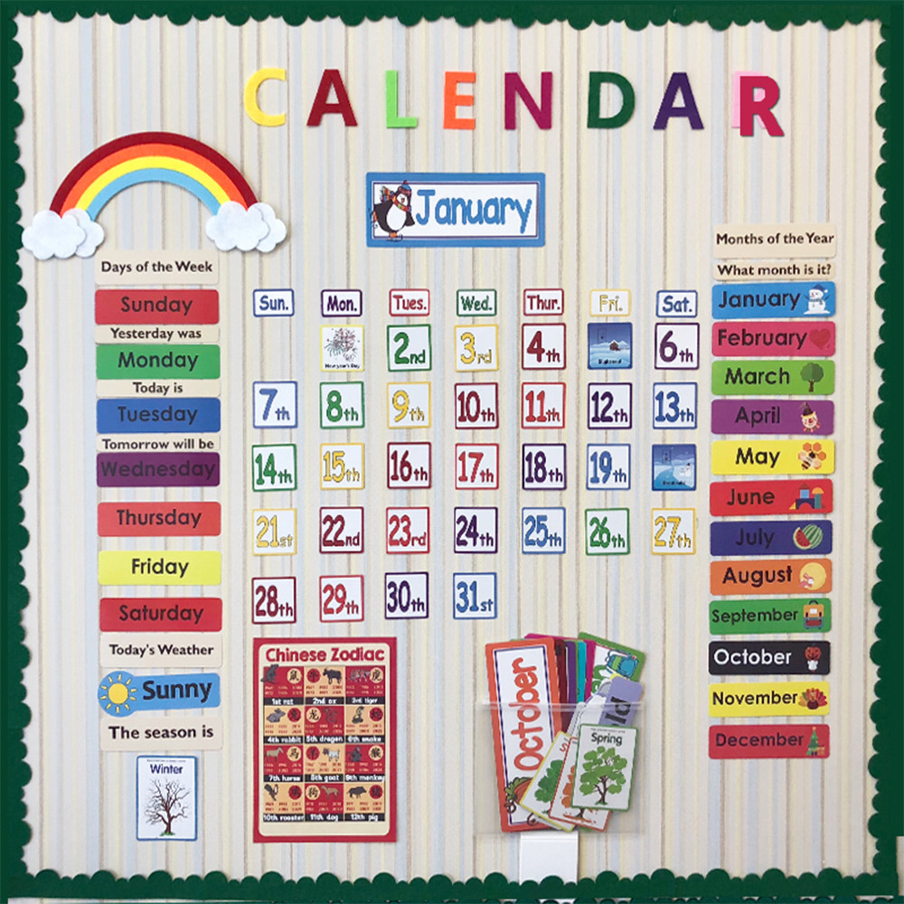 148PCS Set Date Month Holiday Calendar Time Wall Solar Term Weather Management Kids learn English Cards