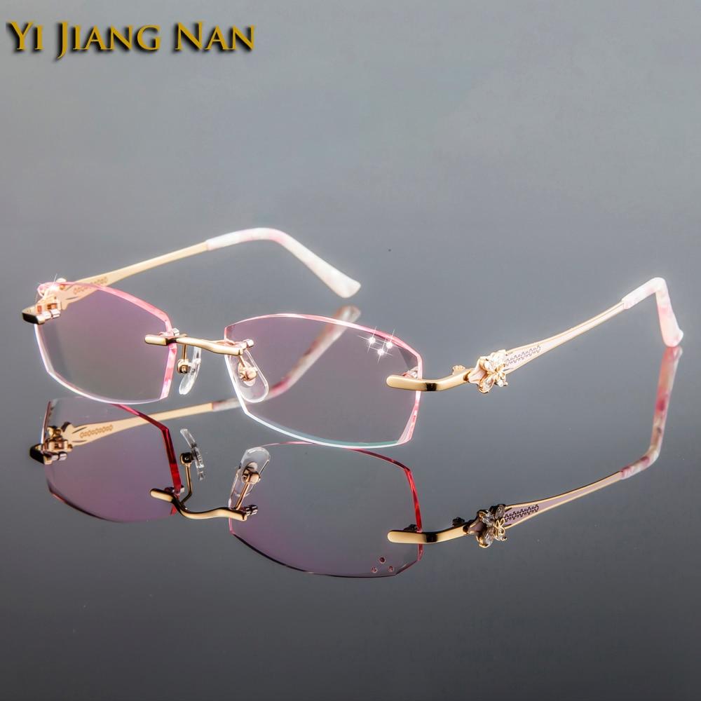 Yi Jiang Nan Marque Diamant Titane Cadres Teinte Lentilles Sans Monture Rose Lunettes Cadres Mode Femmes Dioptr occhiali da vista