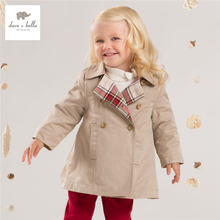 DB4248 davebella late autumn new baby girls khaki coat infant clothes toddle coat girls outerwear children