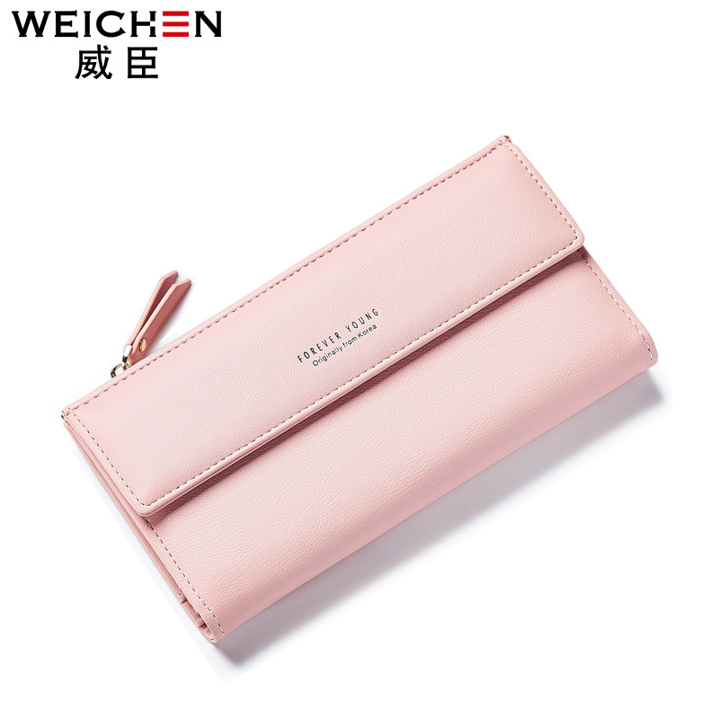 Free shipping 2018 new fashion women wallets brand long wallet Korea style PU leather solid color high quality change purse sweet women s tote bag with metallic and bowknot design