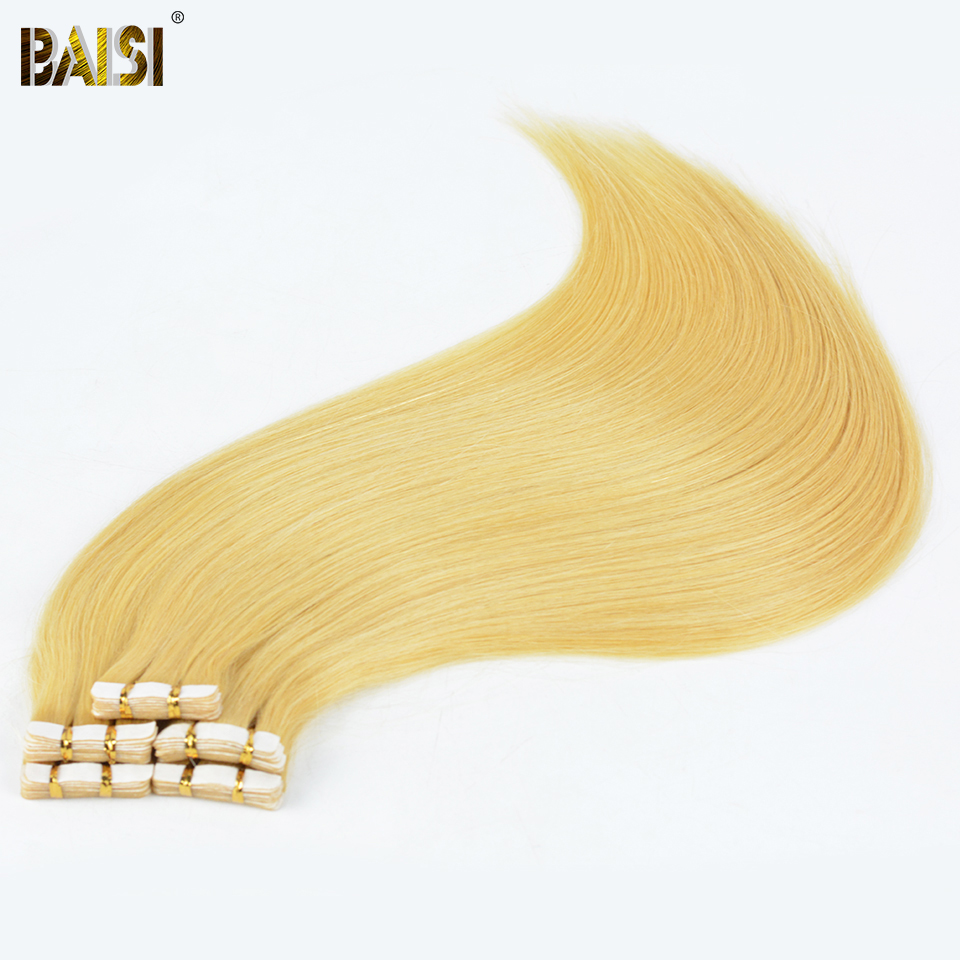 BAISI Tape Hair 2g Strand 20pcs set Silky European Blonde Straight Hair Remy Tape Skin Weft
