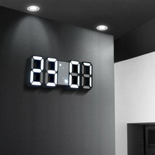 Intelligent Thermometer Of 3D LED Wall Clock Stereo Electronic Digital Alarm White frame / black