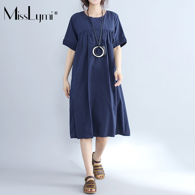 MissLymi XXXL 4XL Plus Size Women Dress 2017 Korea Style Draped Casual  Loose Short Sleeve Summer fdfd8f1a0ff3