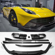 F12 DMC style Car body kit Carbon fiber front lip rear diffuser Side skirts rear spolier for Ferrari F12 2013(China)