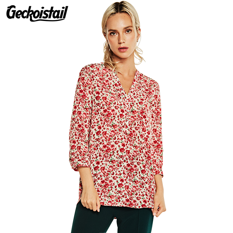 Geckoistail New Autumn Womens Fashion Shirts Print Flower Long Sleeve Slim V Neck Elegant Blouse Women