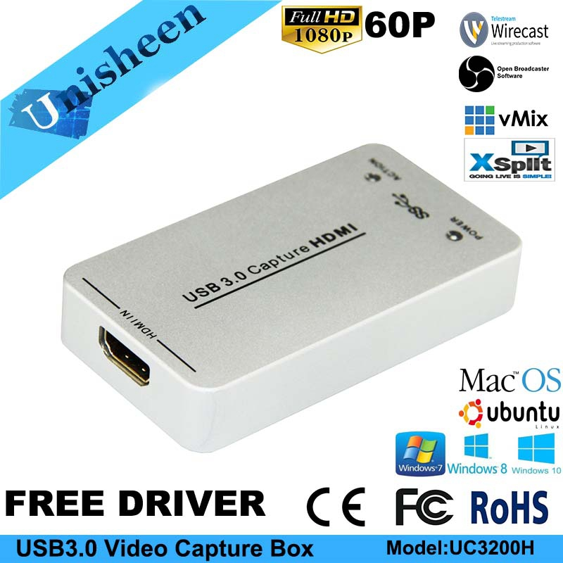 USB3.0 60FPS HDMI à USB3.0 VIDÉO CAPTURE Dongle Jeu Streaming Live Stream Diffusion 1080 p OBS/vMix/Wirecast /Xsplit