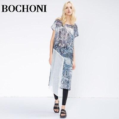 2018 Bochoni new Print-stitched chiffon dress