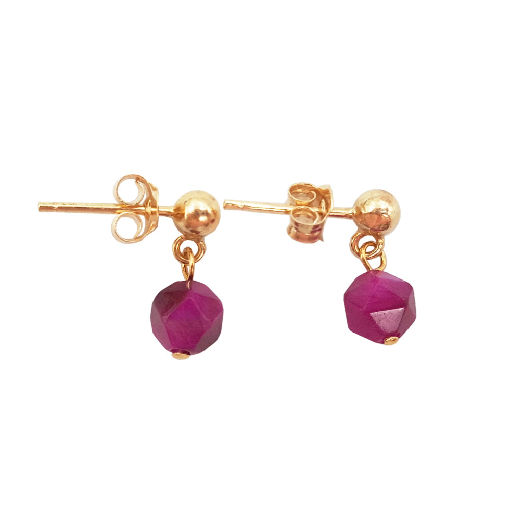Lii Ji  Dye Candy Color Tiger's Eye 925 Sterling Silver Gold Color Tiny Stud Earring