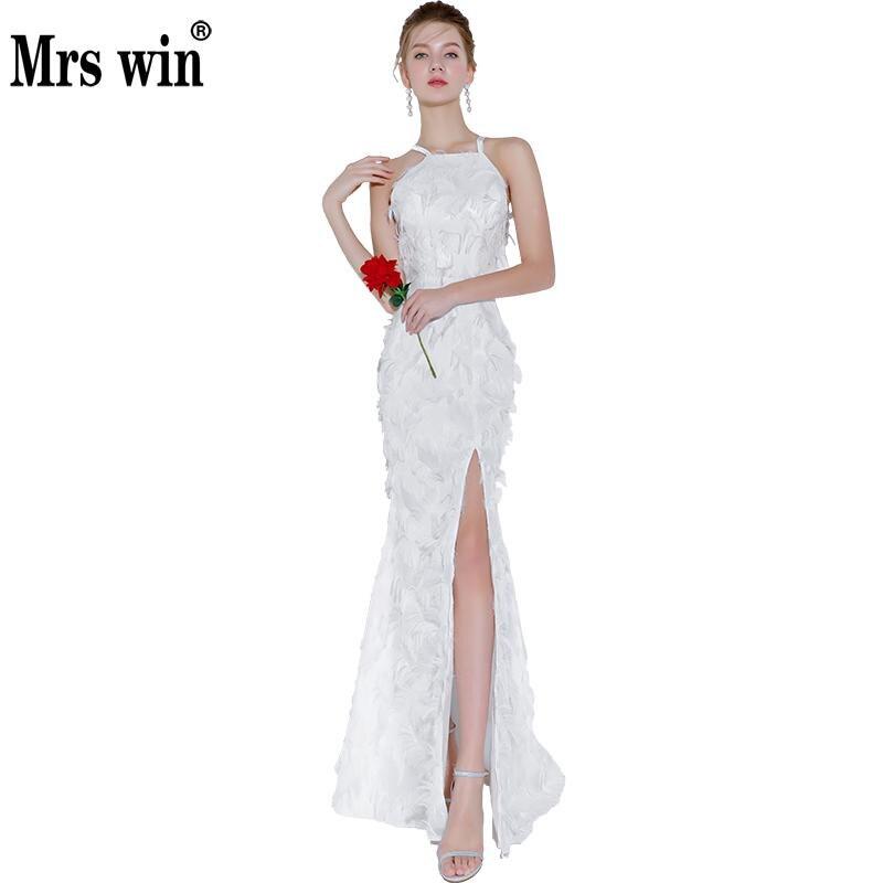 2018 New Mrs Win Halter Mermaid Evening Dresses Classic Vestido De Festa Luxuy Party Prom Vestido Longo Robe De Soiree