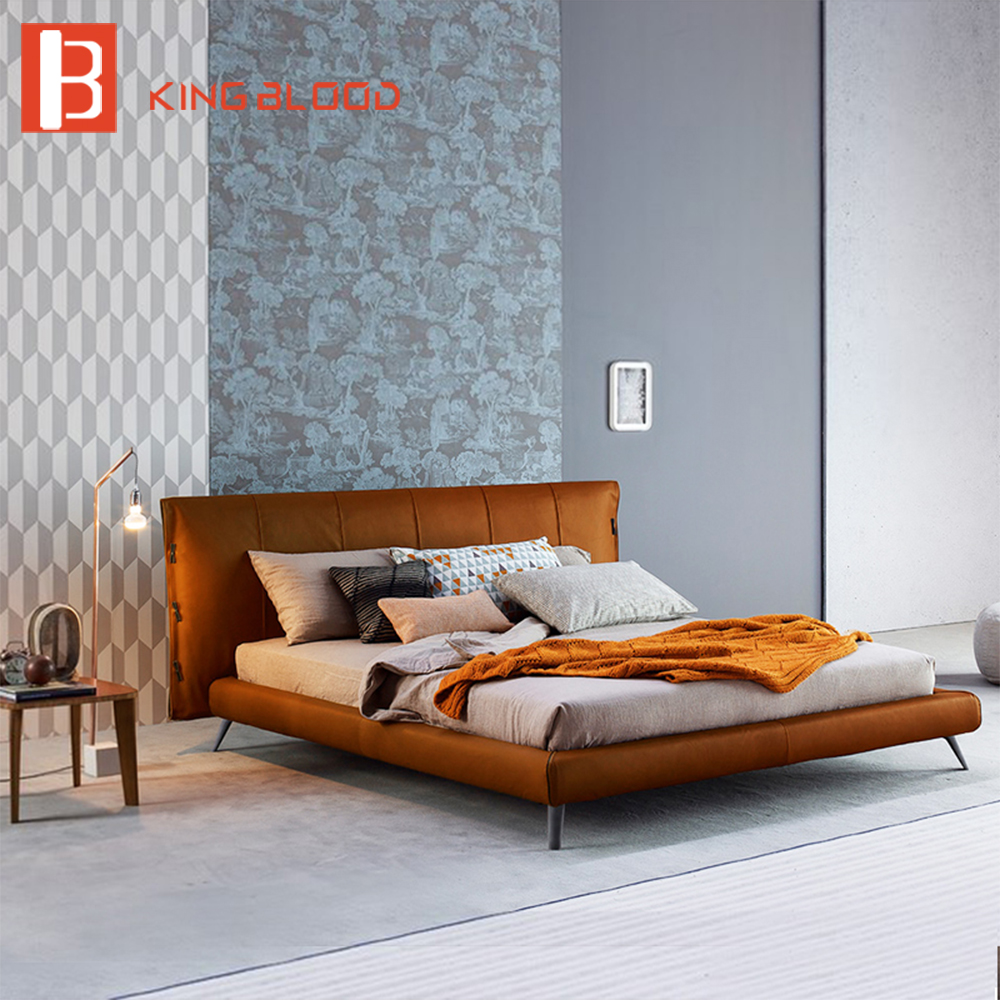 Italian Genuine Cowhide Leather Bed Frame Designs Bedroom