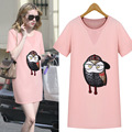 Kesebi 2017 Summer New Hot Fashion Female Casual Pink Long Classic Basic Tops Women Short Sleeve Owl Printing O-neck T-shirts