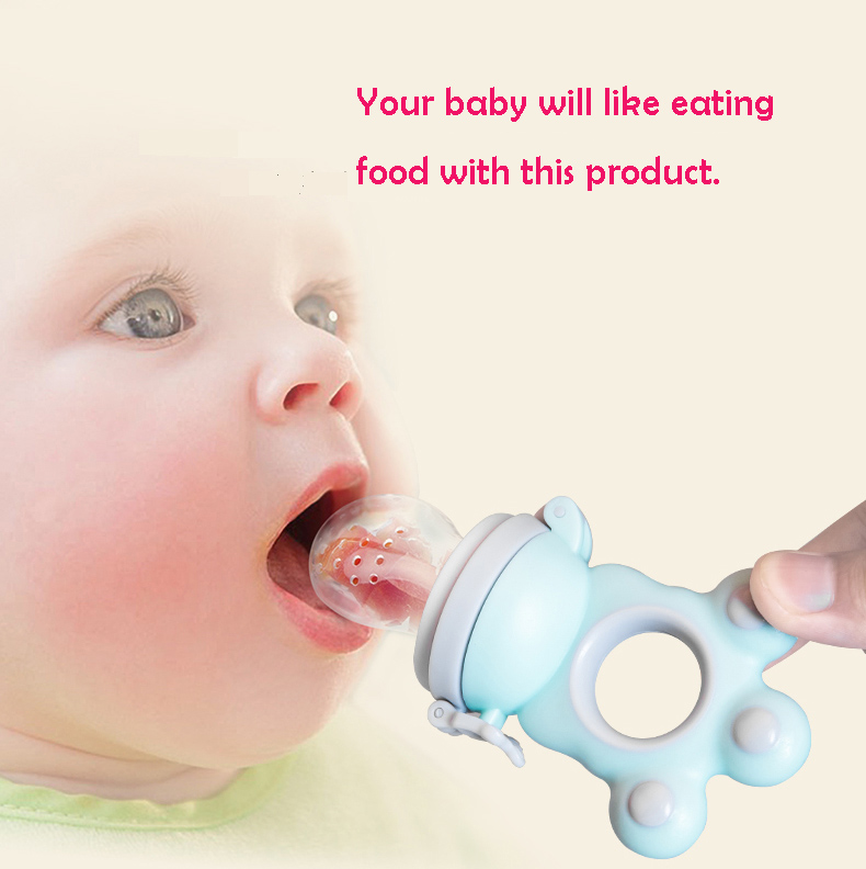 Baby Pacifier Feeding For Fruits Food Soother Nipple Feeder Tool Blue Silicone Infant Ni ...