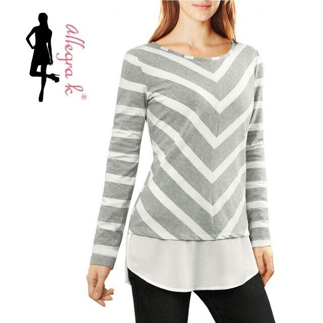 ad6957f985d2d9 Allegra K Women Layered Tunic Top In Striped And Chevron Print on ...  Allegra