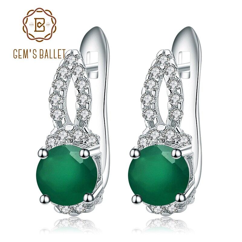 Gem's Ballet 925 Sterling Silver Fine Jewelry Natural Green Agate Gemstone Gorgeous Drop Earrings For Women Green Onyx Earrings