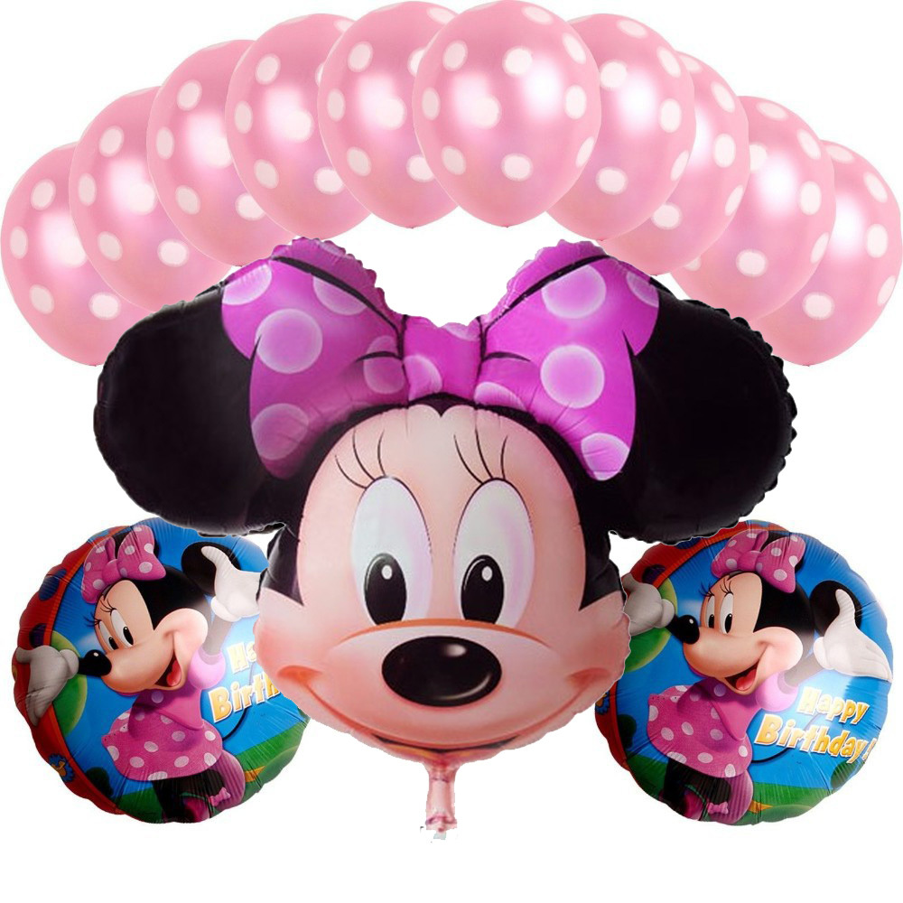 Baloons Helium Balloon Sale 3set/lot Aluminum Happy Minnie Mouse Balloon For Birthday Supplies Decorations Cartoons Foil Ballon