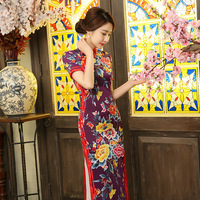 New Arrival Chinese Style Lady Silk Qipao Traditional Long Cheongsam Summer Vintage Dress Flower S M