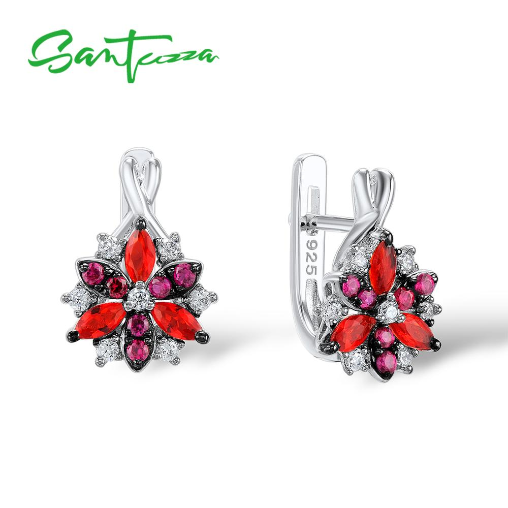все цены на Santuzza Silver Stud Earrings for Women Red Stones White Cubic Zirconia Ladies Pure 925 Sterling Silver Party Fashion Jewelry онлайн