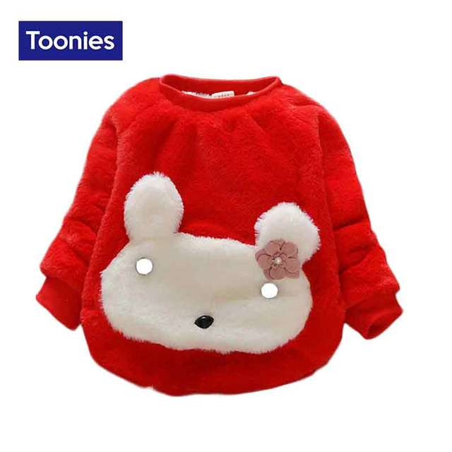 Lovely Rabbit Cartoon Newborn Baby Girls Pullover Cotton-padded Parka Autumn Winter Bottoming Outwear Parkas Toddler Clothes