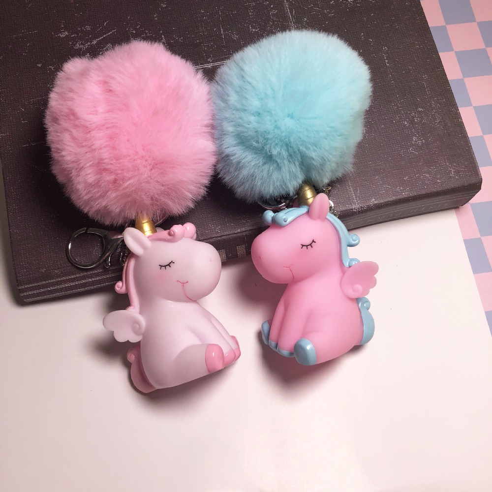 15cm Unicorn Plush Pendant Toy Squeezable Sound Venting Dolls Kawaii Hairball Animal Horse Keychain Toys For Baby Girls Gift