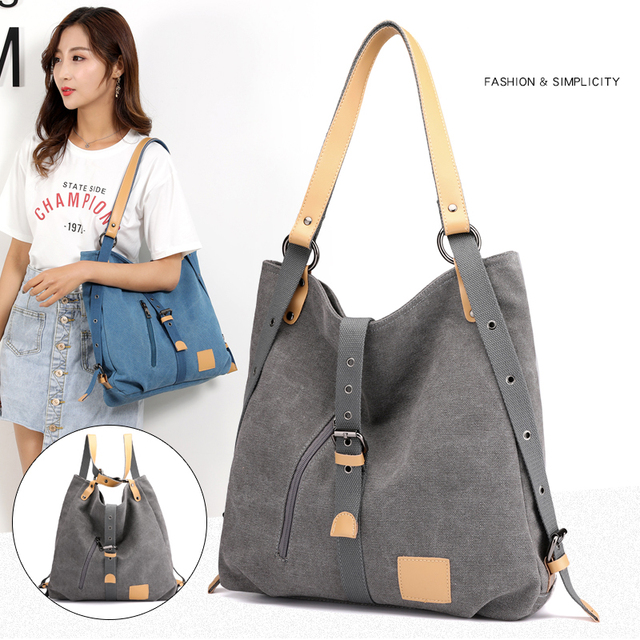 Women Canvas Shoulder Bags Female Back Pack Bags Solid Bucket Bag Fashion Casual Designer Female Handbag Large Capacity Tote 5