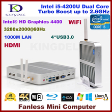 Fanless HTPC core i5-4200U dual core mini barebone pc home computer 4*USB 3.0 ports HDMI, 4K HD,WIFI,Support Win 7/8/10