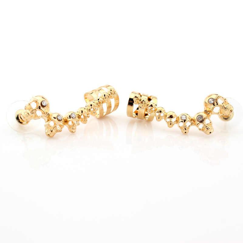 Rock Punk Skull Crystal Gold Silver Tone Stud Earrings For Women Men  Earrings Hiphop Jewelry Dropshipping
