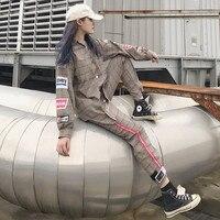 Hiphop Women 2 Piece Set Clothing Badge Khaki Gray Plaid Shirts + Ankle Length Trousers Fashion Ladies Street wear Stylish Sets