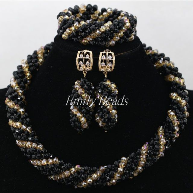 Luxury Black Traditional African Beads Wedding Jewelry Set Nigerian Women Jewelry Sets Gold Plated 2016 New Free Shipping AIJ675