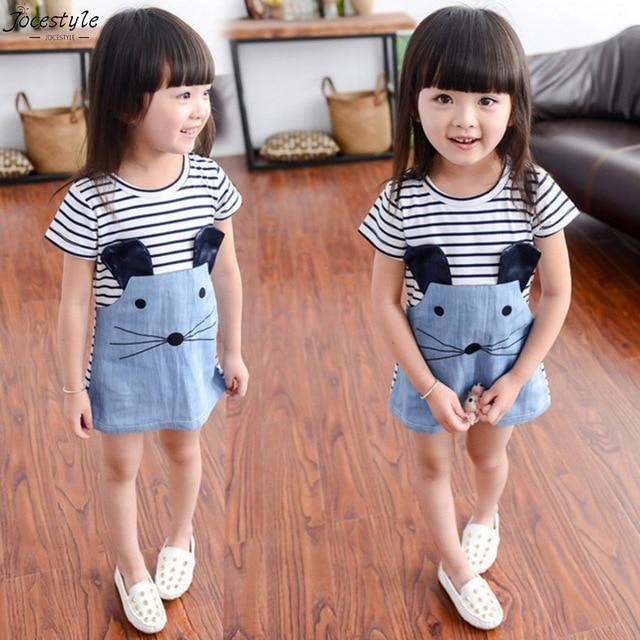 Striped Patchwork Character Girl Summer Dresses Sleeve Cute Mouse Children Clothing Kids Girls Dress Denim Kids Clothes