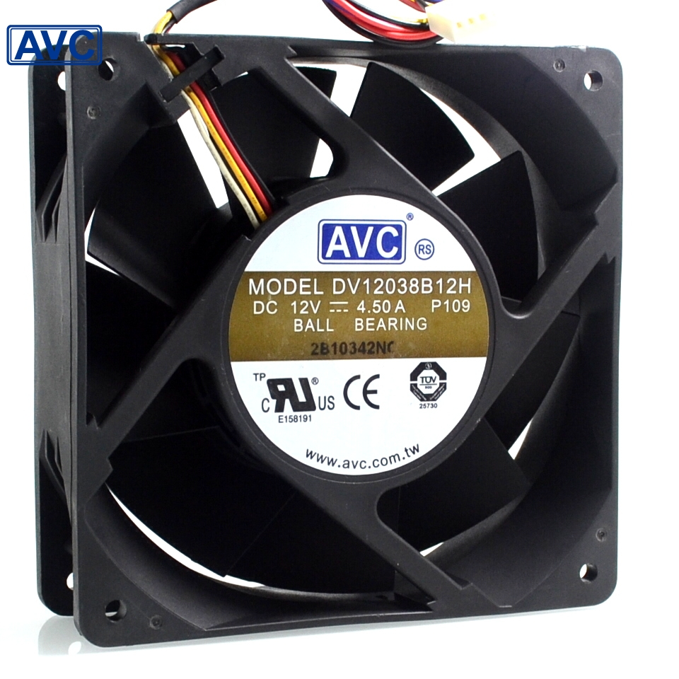 Original server fans DV12038B12H 12038 12V 4.5A 12CM cooling fan  cooler computer water cooling fan delta pfc1212de 12038 12v 3a 12cm strong breeze big air volume violent fan