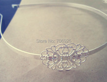 8pcs/lot  silver color Headbands / hairbands with a filigree wrap base 27mmx33mm