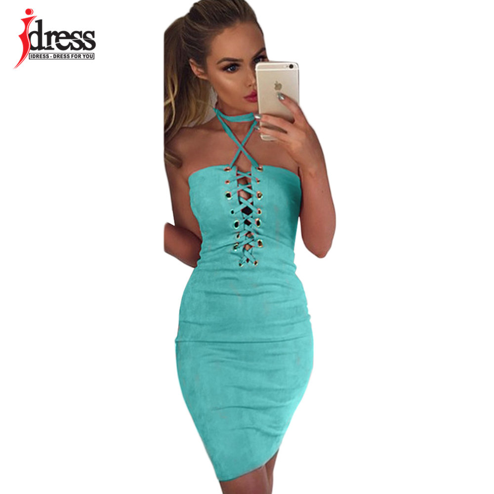 ... IDress Club Wear Lace Up Suede Bandage Dress Summer Off Shoulder Halter  Hollow Out Bodycon Pink 1cd29267f312