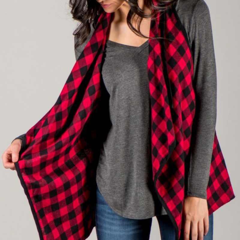 Nueva chaqueta de mujer informal a cuadros Rojo Negro Tops Chaleco de mujer con volantes Chaqueta abierta de algodón con cuello en V otoño para mujer