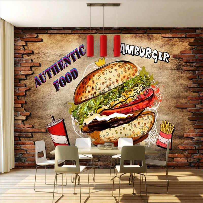 Papel pintado personalizado mural comida rápida restaurante hamburguesa herramientas de fondo de pared de alta calidad paño de pared