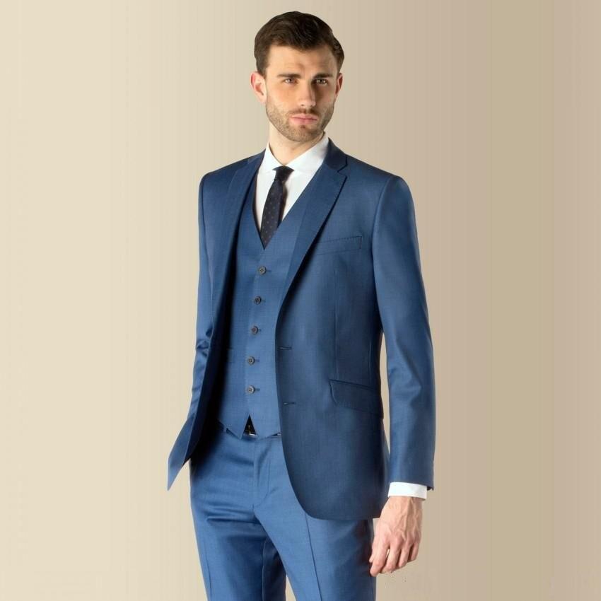 Custom Made Groomsmen Peak Lapel Groom Tuxedos Side Vent Men Suits ...