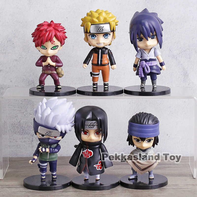 Naruto Shippuden The Last Uzumaki Naruto Hatake Kakashi Gaara Uchiha Itachi  Sasuke Q Version Action Figures Toys 6pcs/set