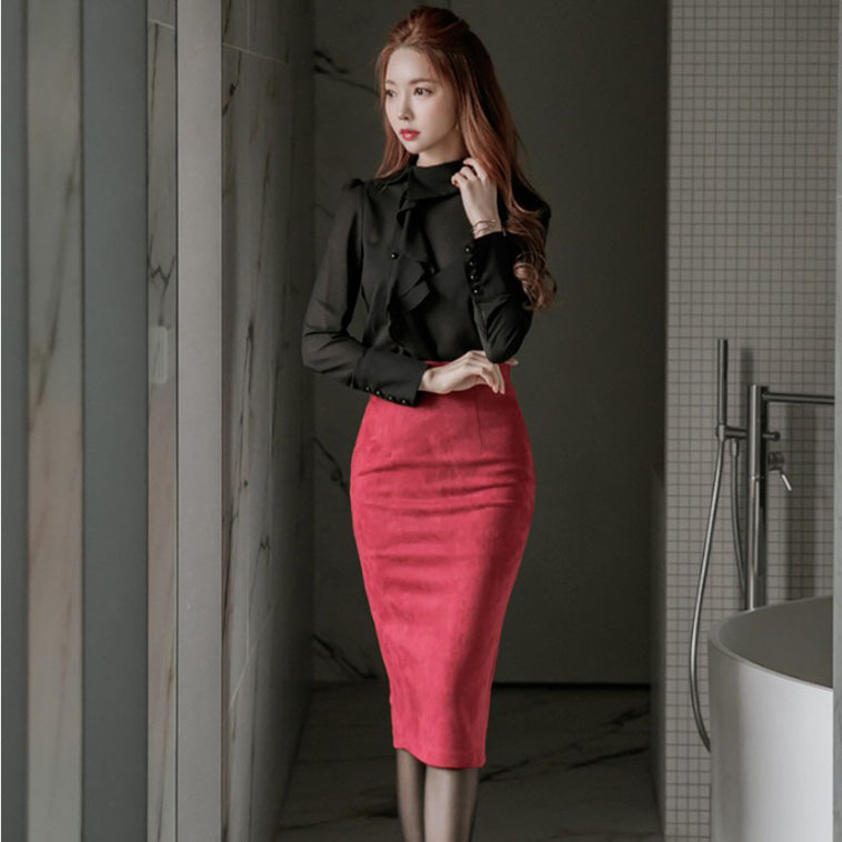 Skirts Piece Vestidos Tops 2018 Black Sleeve Blouse Suit Pencil Photo Color Shirt Ruffles Crop And Women Skirt 2 Set Long Red Top ZzwdqpZ