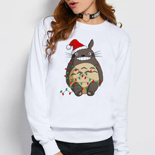 Christmas totoro hoodies women new funny fashion kawaii printed Casual o-neck female male Autumn hood Sweatshirts