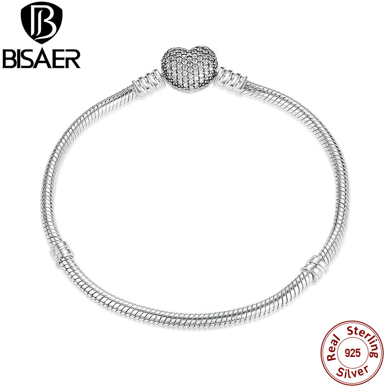 все цены на 925 Sterling Silver Love Heart Chain Bracelet for Female Charms Bracelets & Bangles Silver Fashion Jewelry HJS906 онлайн