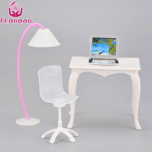 UCanaan Children Play House Toy Furniture Desk + Lamp + Laptop + Chair  Accessories For Barbie
